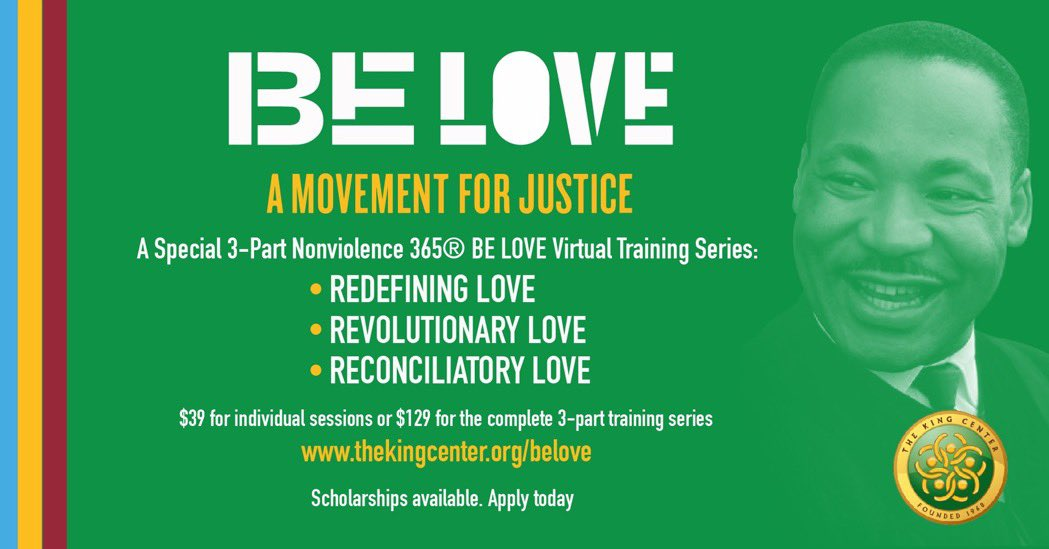 Our next 3-part #virtual #BeLOVE series starts March 15th. SCHOLARSHIPS available. Apply, register and take the BE LOVE pledge at . #BelovedCommunity #MLK