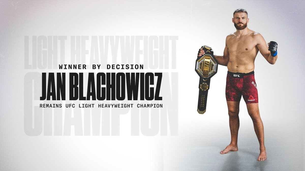 When you walk the walk you can talk the talk. Congratulations, @JanBlachowicz! The polish powerhouse reign is still on. #ANDSTILL #UFC259