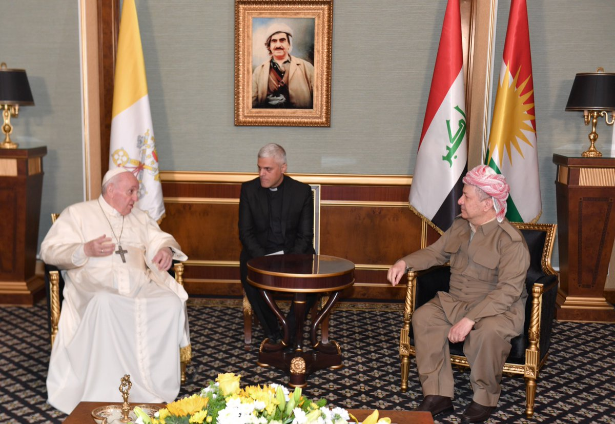 Honored to receive @Pontifex today in Erbil. Pope Francis' visit to the Kurdistan Region is indeed an attestation to our common values of peace, coexistence, and tolerance. https://t.co/y8YI4ufOGx
