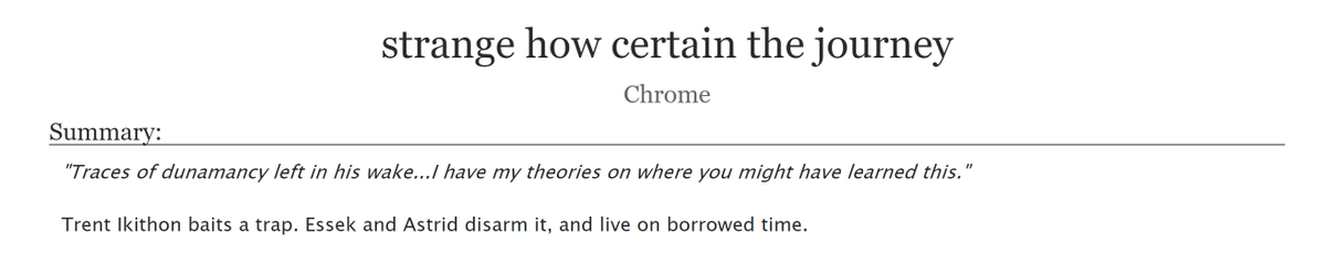 "new fic: ""strange how certain the journey""  ⚠️graphic depictions of violence ✴️Astrid & Essek Thelyss ✴️T, one-shot, 1.6k ✴️please check the tags for additional warnings!   #CriticalRoleSpoilers #criticalrolefanfiction #essekthelyss #Astrid"