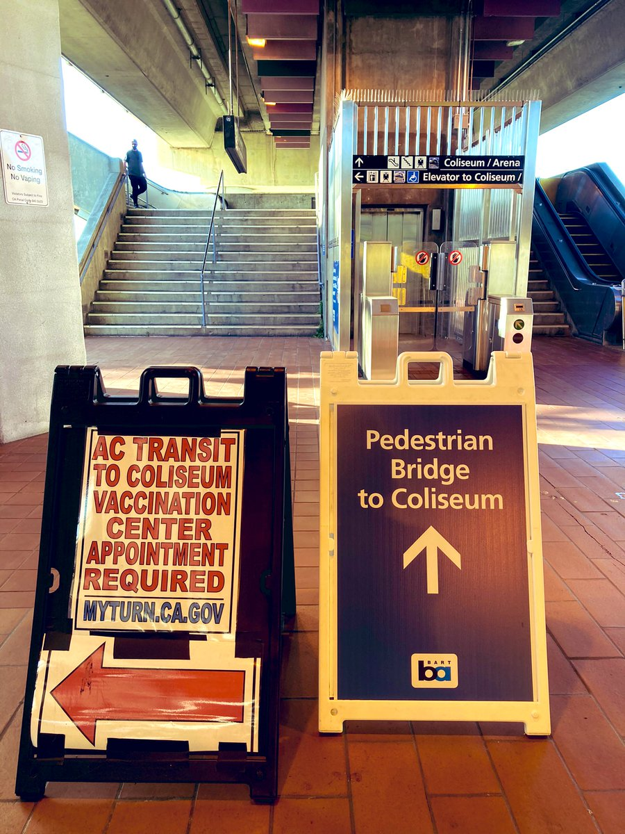 Exiting the turnstiles, you go straight ahead to the pedestrian bridge that leads to the Coliseum. There is an elevator and ramp access. I walked up the stairs to the pedestrian bridge. #CovidVaccine #Oakland #BayArea
