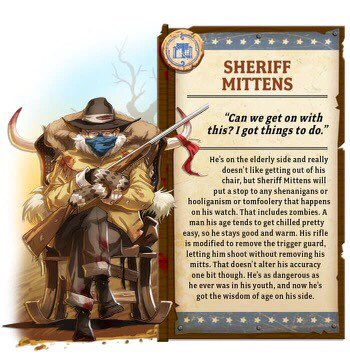 So @CMONGames has outdone themselves with the latest character entry for Zombicide: Undead or Alive - Sheriff Mittens. Fantastic! #Berniememes