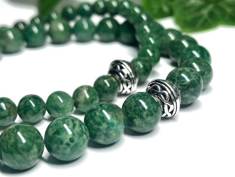 On SALE • Gorgeous natural African jade bracelets all done up in Irish/Celtic style!🍀Handmade & custom-sized.  #etsymntt #bracelet #Irish #StPatricksDay #fashion #style #green