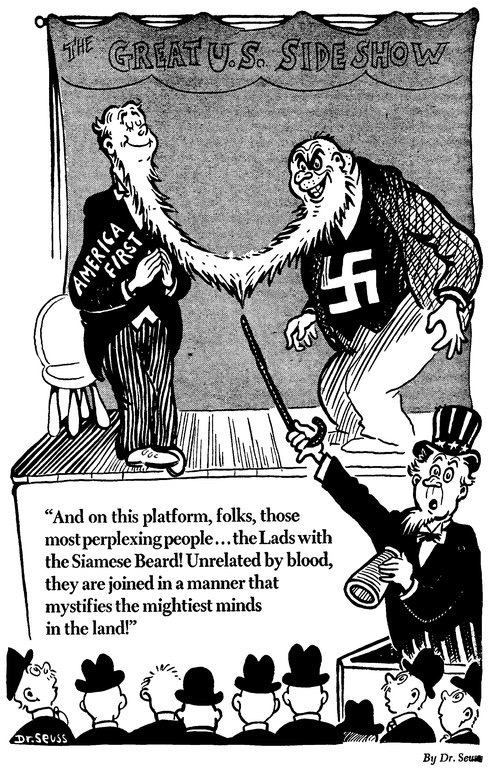 """The estate of Dr. Seuss deciding not to publish a few books they decided are problematic isn't """"cancel culture."""" It's personal choice. Just like the estate doesn't publish these types of early #AmericaFirst works by Dr. Seuss."""