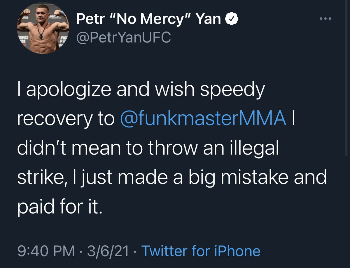Petr Yan first post after being disqualified and losing his title at #UFC259