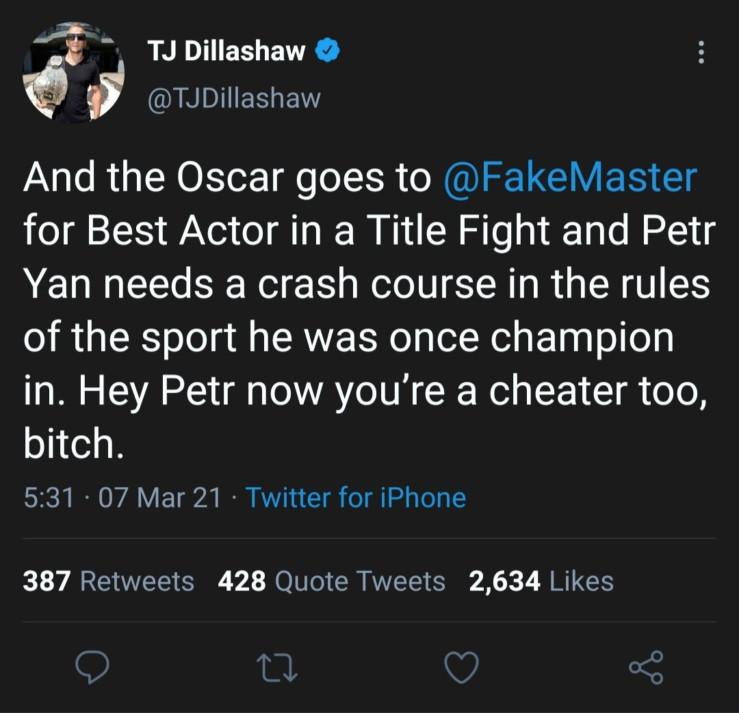 Just archiving this because Juicehead Dillashaws lack of self-awareness/desperation to be in the title conversation is hilarious #UFC259 #MMATwitter @TJDillashaw 🐍