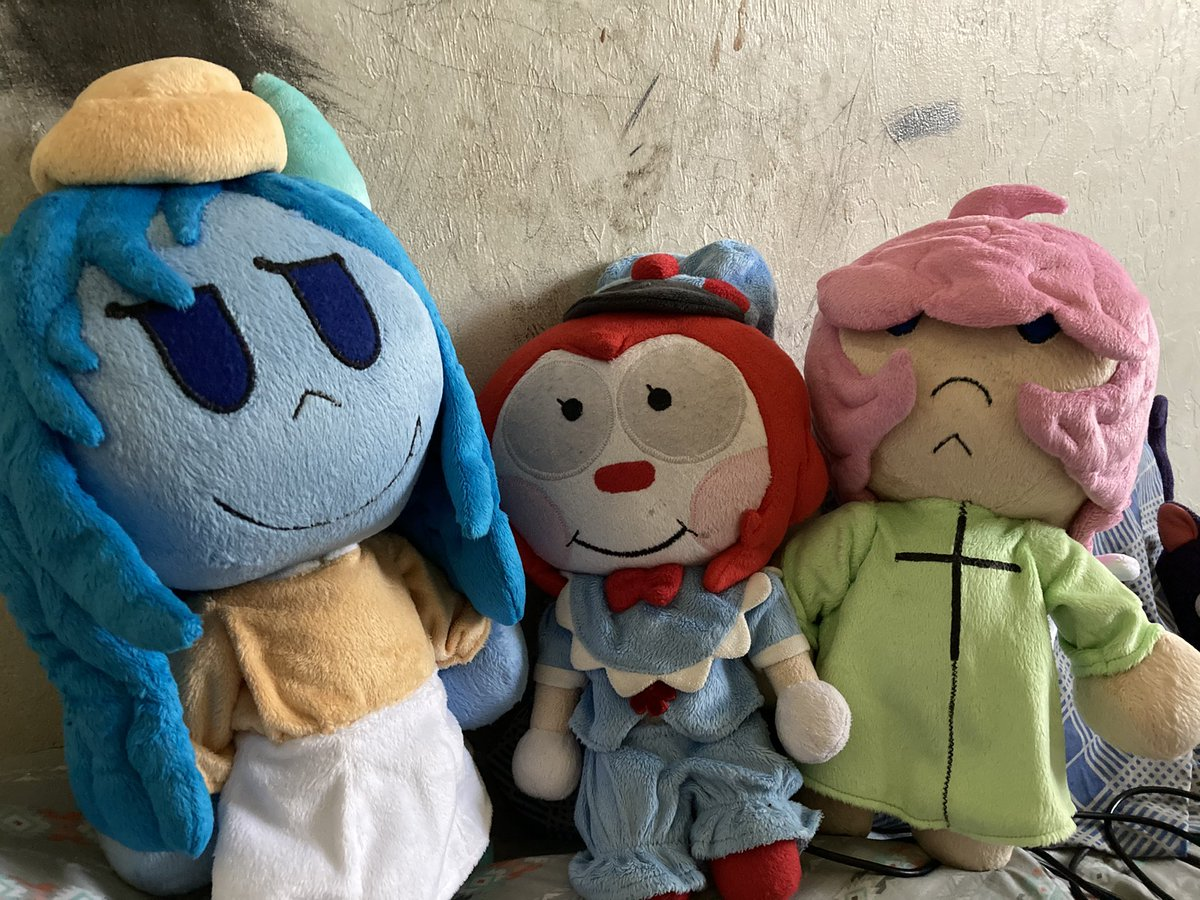 #ComfortOcs  I have a couple but recently got plushies of three of them! This is Orabel, Malown, and Bengt!