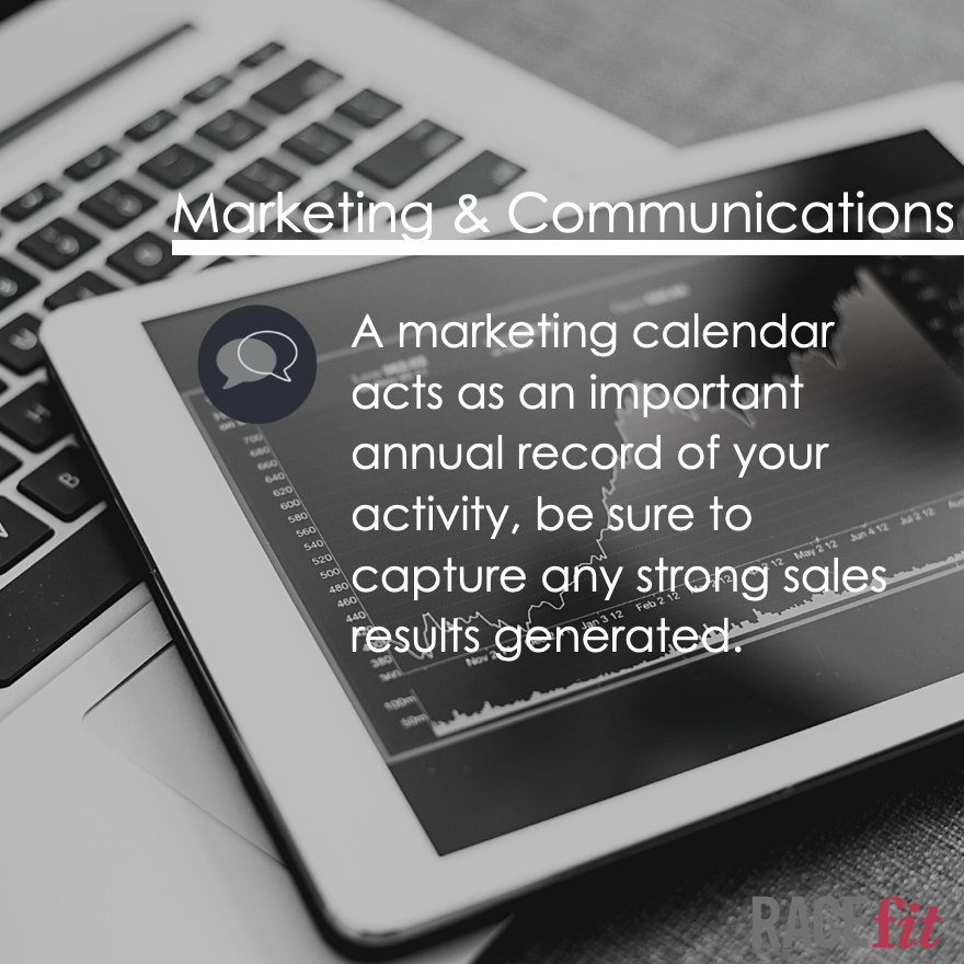 Do you have a #marketing calendar? A marketing calendar acts as an important annual record of your activity, be sure to capture any strong #sales results generated.  Our FREE Racefit™ tool helps you review the building blocks crucial to success: