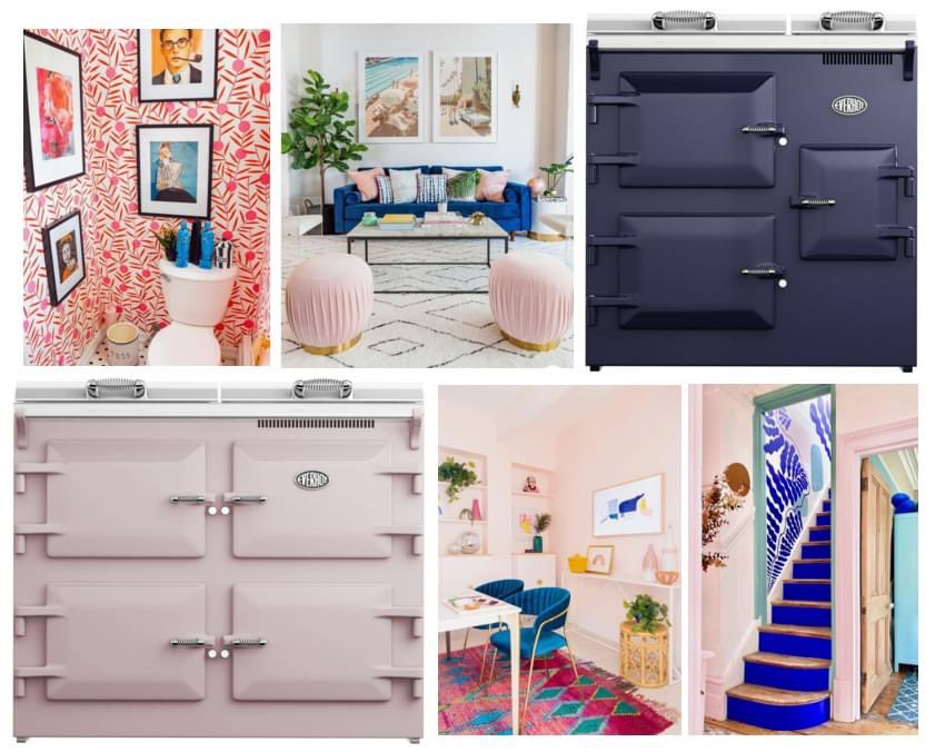 Today's mood… bright and bold   #Everhot #heatstoragerangecooker #rangecooker #kitchen #kitchendesign #luxury #design #cookers #kitchenideas #interiors #interiortrends #moodboard #brightinteriors #hertfordshire #hertfordshirehomes #boldinteriors #DuskyPink #Blue