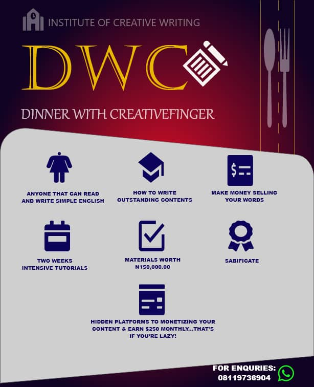 That's why DINNER WITH CREATIVEFINGER has been designed to guide you through the fundamentals of content writing and how to get started... #writing #winmetawin #sundayvibes #WhatsHappeningInMyanmar #whitemanlostintexas #AndNew #superstraight #DWC