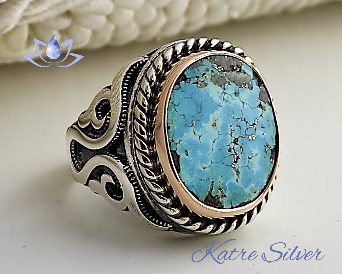 Excited to share the latest addition to my #etsy shop: Turquoise Men Ring, Mens Handmade Ring, Turkish Handmade Silver Men Ring, Ottoman Mens Ring, Sterling Silver, Birthday Gift, Katre Silver  #bronze #southwestern #no #turquoise #blue #silver #