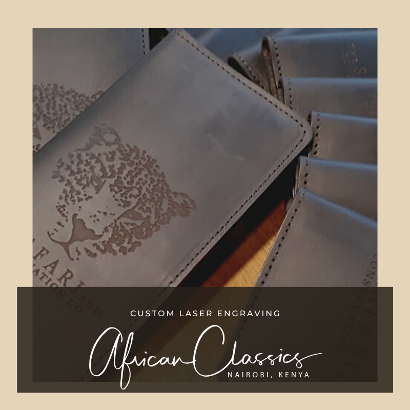 We love our wallets just the way they are, however sometimes we get special orders like this to add some special engraving to them!  Let us know how we can help your #business #custom #engraving orders, or just pick up a beautiful #wallet today!  #AfricanClassics #Handmade