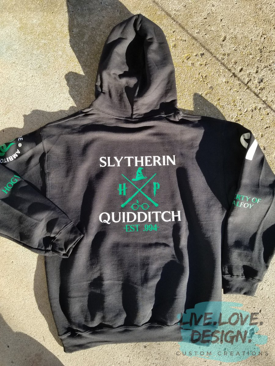 And the back!  #HarryPotter #Slytherin #Customhoodie #SmallBusiness #handmade #livelovedesign