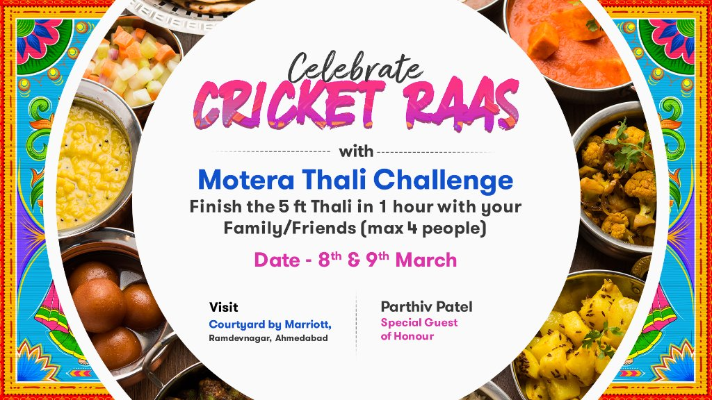 What's a festival without food?  Celebrate #CricketRaas with the Motera Thali Challenge at Courtyard by Marriott, Ramdevnagar.  Entries are on first come, first serve basis - so arrive early and see if can you finish off the Thali in style! 😎  #INDvENG #AmdavadTaiyarChe