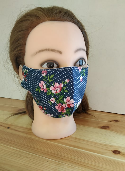 #Sale! 20% OFF! #Cloth #Mask #FaceMask #Cotton #Triple #Layers #Pocket for #Filter #Handmade #Navy #blue #polkadot #Floral #washable mask  @Etsy