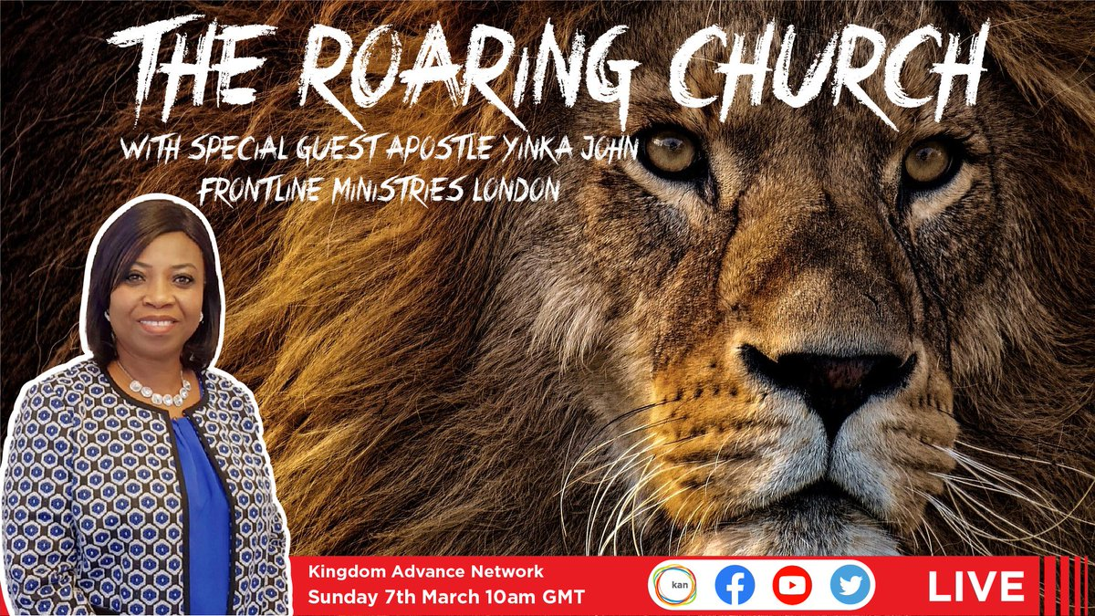 """Join us live at 10am for """"The Roaring Church"""" with special guest Apostle Yinka John!       #Bible #SeekGod #God #Worship #HolySpirit #Christian #Church #Prophetic #Jesus"""