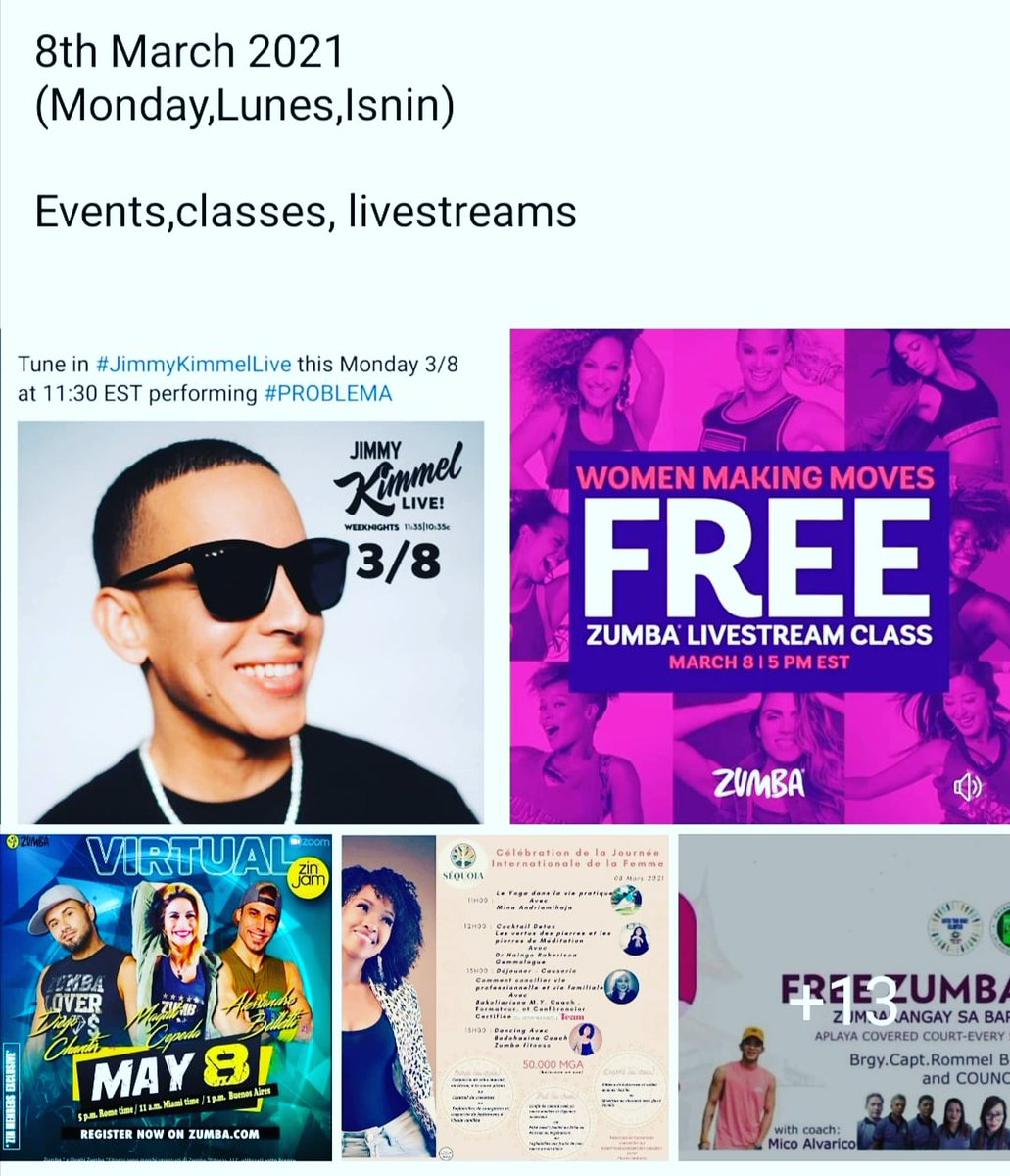 8th March 2021 ( Monday, Lunes, Isnin )  Events, classes, livestreams, trainings    #08032021 #Monday #Isnin #lunes #classes #online #zoom #virtual #zumba #ZJ  #dancefitness #fitness  #workout  #danceclass #partyathome #events #linlin  @linlinpartybabe