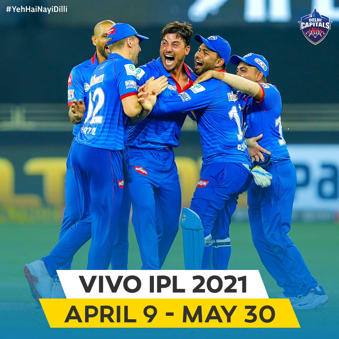 Our brains have been reminiscing #IPL2020 moments on repeat mode as soon as the dates were announced 🔂  We begin our #VIVOIPL 2021 campaign on the 10th of April 🆚 @ChennaiIPL in Mumbai 💙💛  #YehHaiNayiDilli #IPL2021