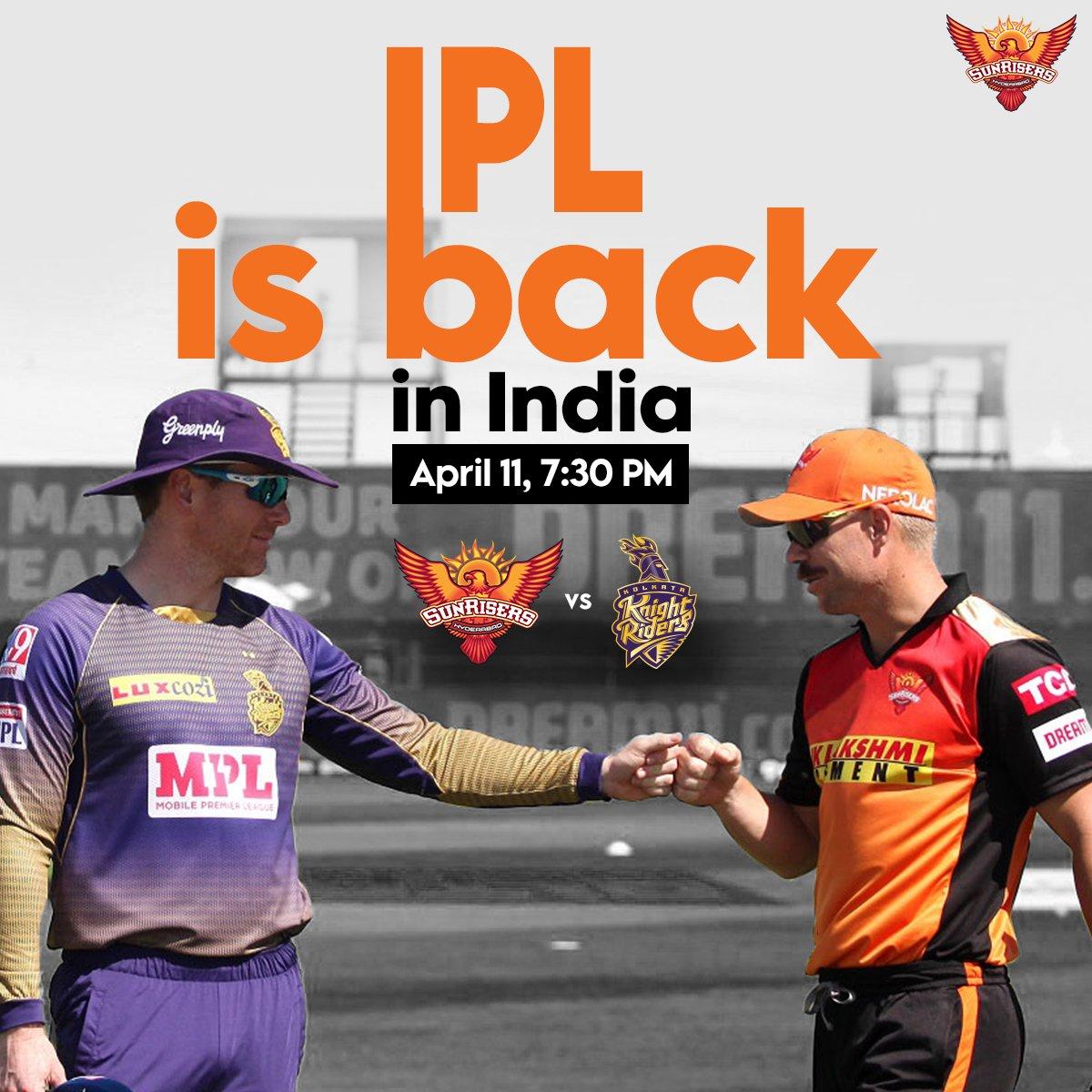 It's a date with @KKRiders 🧡💜  #IPL2021 #OrangeArmy #KeepRising #SRH