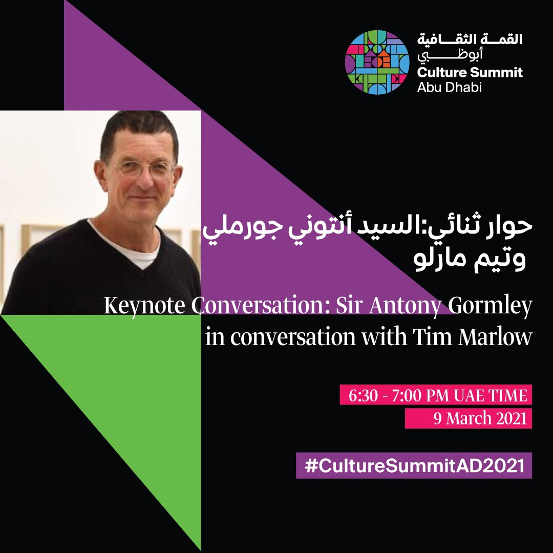 Sir Antony Gormley and Tim Marlow will be hosts of their keynote, taking place on the second day of the Culture Summit 2021. Register today   #CultureSummitAD2021 #InAbuDhabi