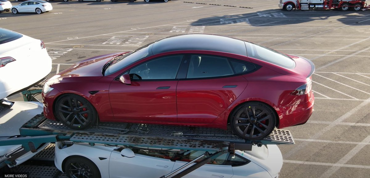 2 things are wild about this video  1: Tesla's Plaid Model S looks like it's about to start shipping and delivering WITH the yoke steering wheel  2: People really just FLY DRONES OVER TESLA'S FACTORY to try to spot insider info 😭
