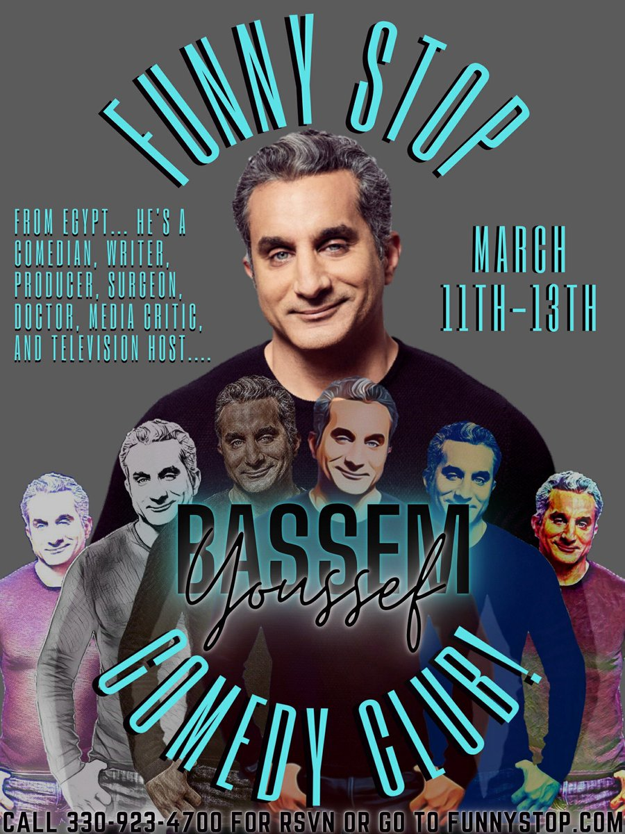 @Byoussef @TammyPescatelli @TomCotterComic. For res 330-923-4700 or on lune https://t.co/5Z7yUObV7b  Bassem March 11-13  Tammy March 19-20 Pablo Francisco April 1-3  Tom Cotter April 16-17 https://t.co/qC3WRxig2J