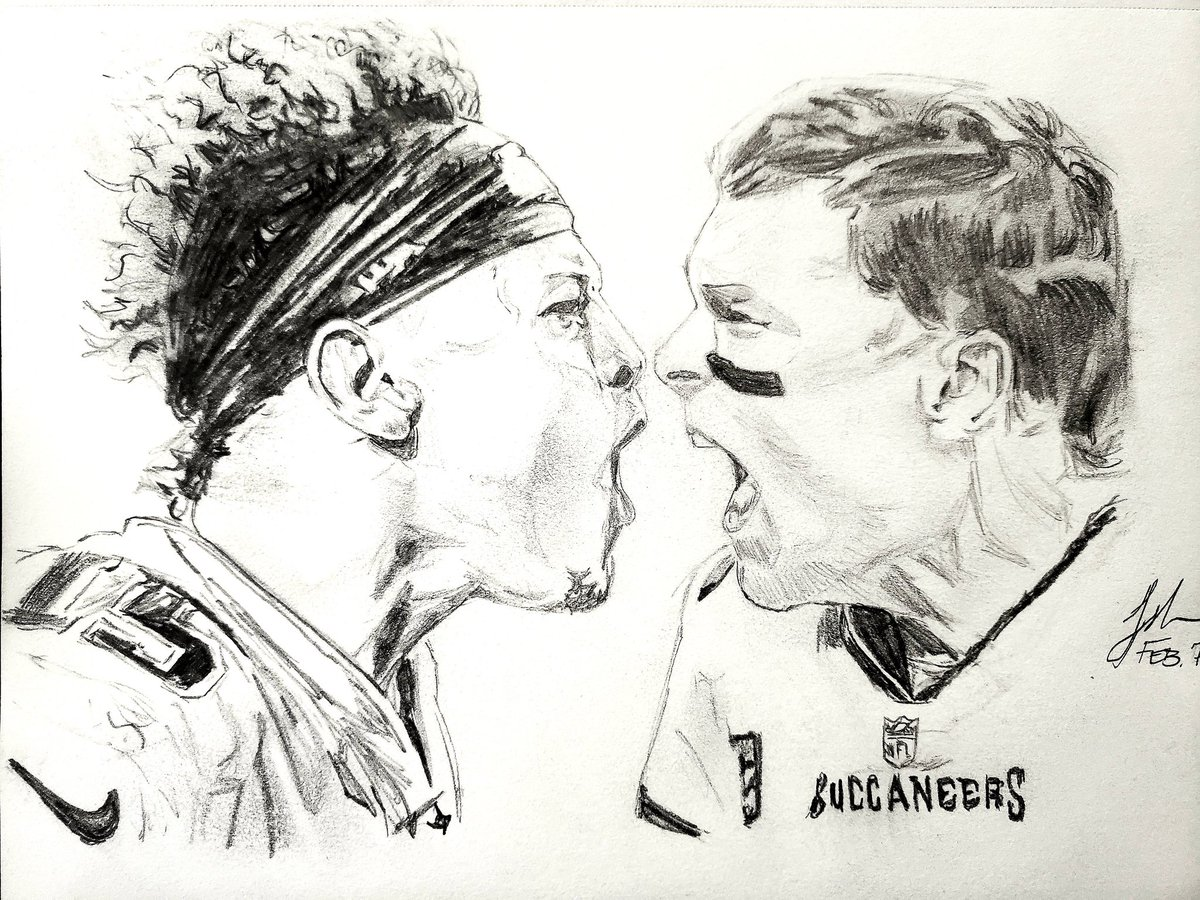 I drew @PatrickMahomes and @TomBrady a few hours before the game. #superbowl #superbowllv @NFL @nflnetwork #sketch #art #drawing #drawme #pencildrawing #pencilsketch #pencilart
