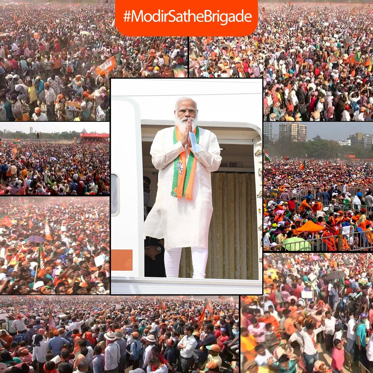 Bengal's love and affection for PM @narendramodi and exasperation to get rid of TMC government manifest in this gigantic gathering! #ModirSatheBrigade