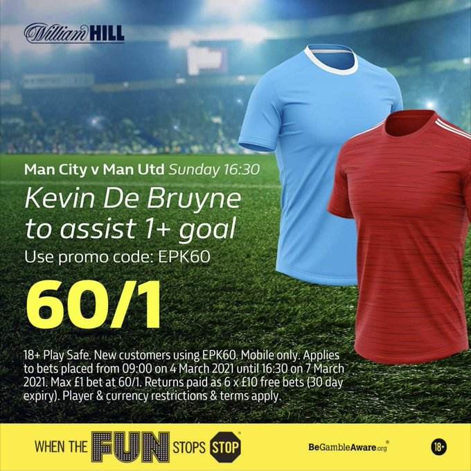 ⚽ Fancy Kevin De Bruyne to assist a goal in the Manchester Derby? ⚽   Get a HUGE 60/1 price boost at William Hill! 🚀  #MCIMUN #ManchesterDerby #ACityUnited #MCFC #MUFC #ManCity #ManUTD #Sterling #Rashford #SuperSunday #SundayMorning  Add to betslip👇