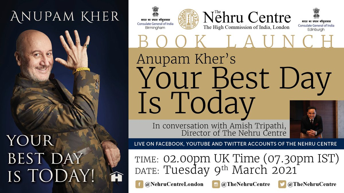 """We are so excited to bring to you the online launch of @AnupamPKher 's book """"Your Best Day is Today"""". Join us for what promises to be a fun, interesting and engaging conversation between @authoramish and Anupam Ji. We will be live on Tuesday 9th March at 2:00 pm UK."""