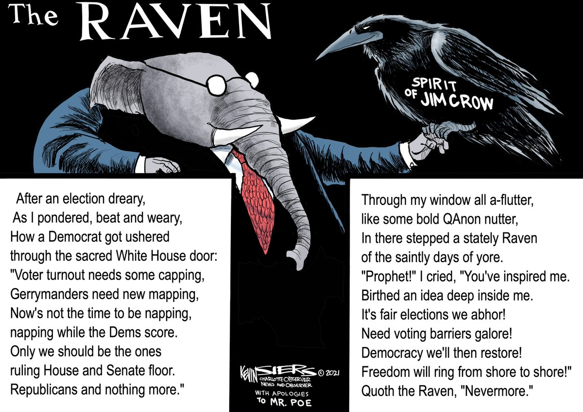 """@KevinSiers Brilliant De-Constructed """"Jim Crow"""" Raven  #VotingRights #HR1 #Vaccine #HoldOn #BamBam #SundayThoughts  #CriticalRole #COVID19Vaccine #Covid_19 #AppleMaps #therapy #SUNWOO #GOP #MaskUpTexas #Vaccine #SpeedyGonzales #Kpopfans #ASongForYou #UFC259 #JUNGKOOK #Adesanya"""
