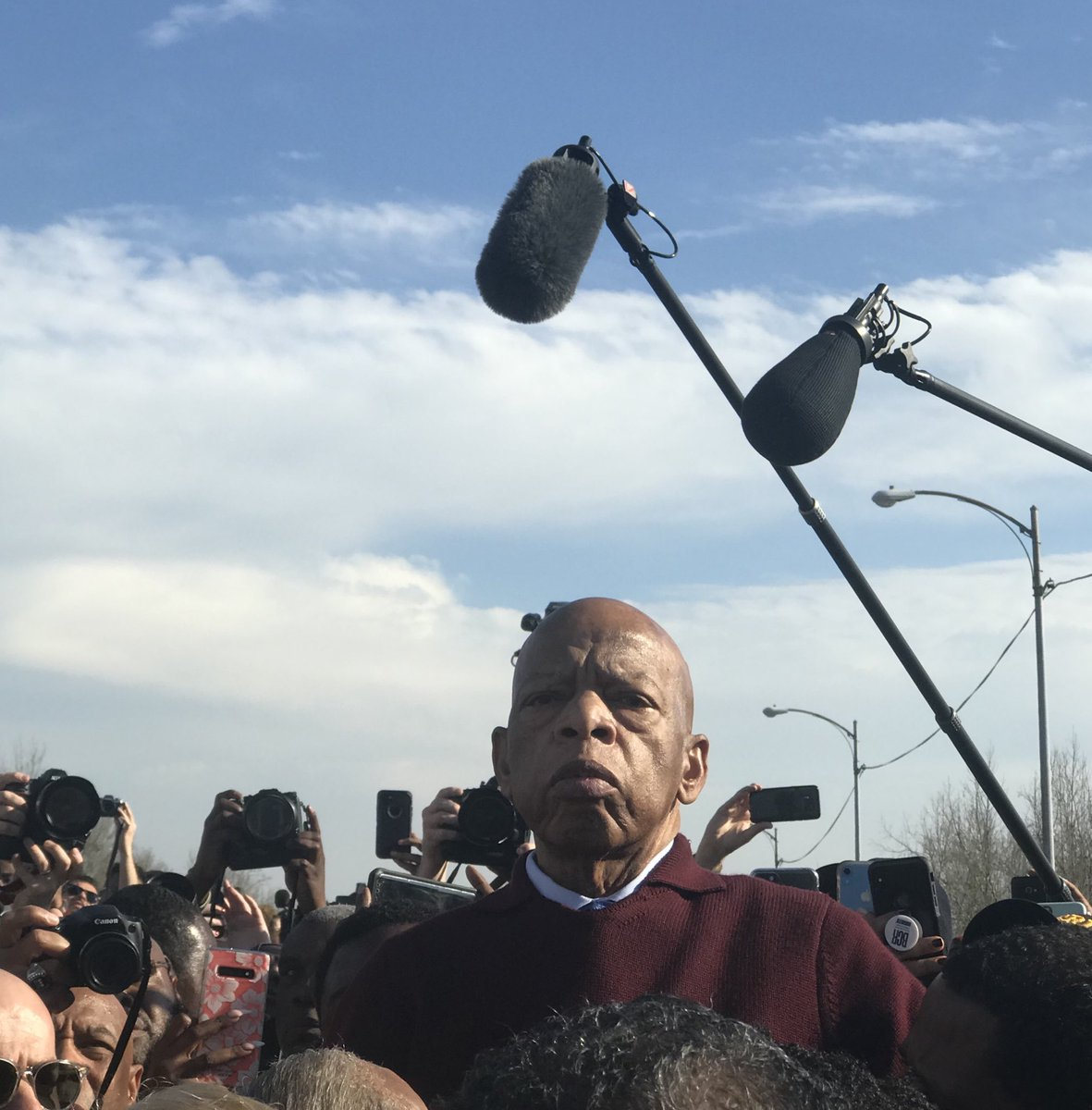One year ago today, was honored to join fellow voting rights advocates in 55th march across bridge in Selma. An ailing John Lewis suddenly appeared at top of bridge, urged us to fight on & essentially said goodbye. Will treasure this forever. #Selma56
