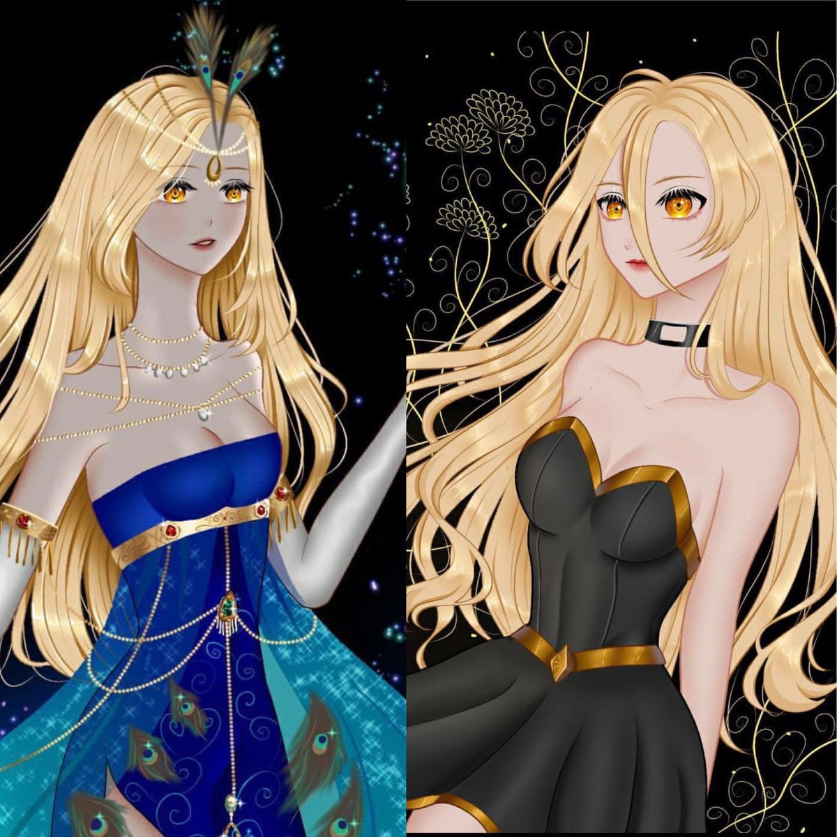 Two stunning pictures of Lacie done by @lalunamea in their art. I love the peacock dress in the second picture. Thank you so much!!! #dungeonsanddragons #dnd #pathfinder #rpg #ttrpg #pathfinderrpg #tabletopgames #dice #criticalrole #art #dndart #cosplay #anime #roleplay