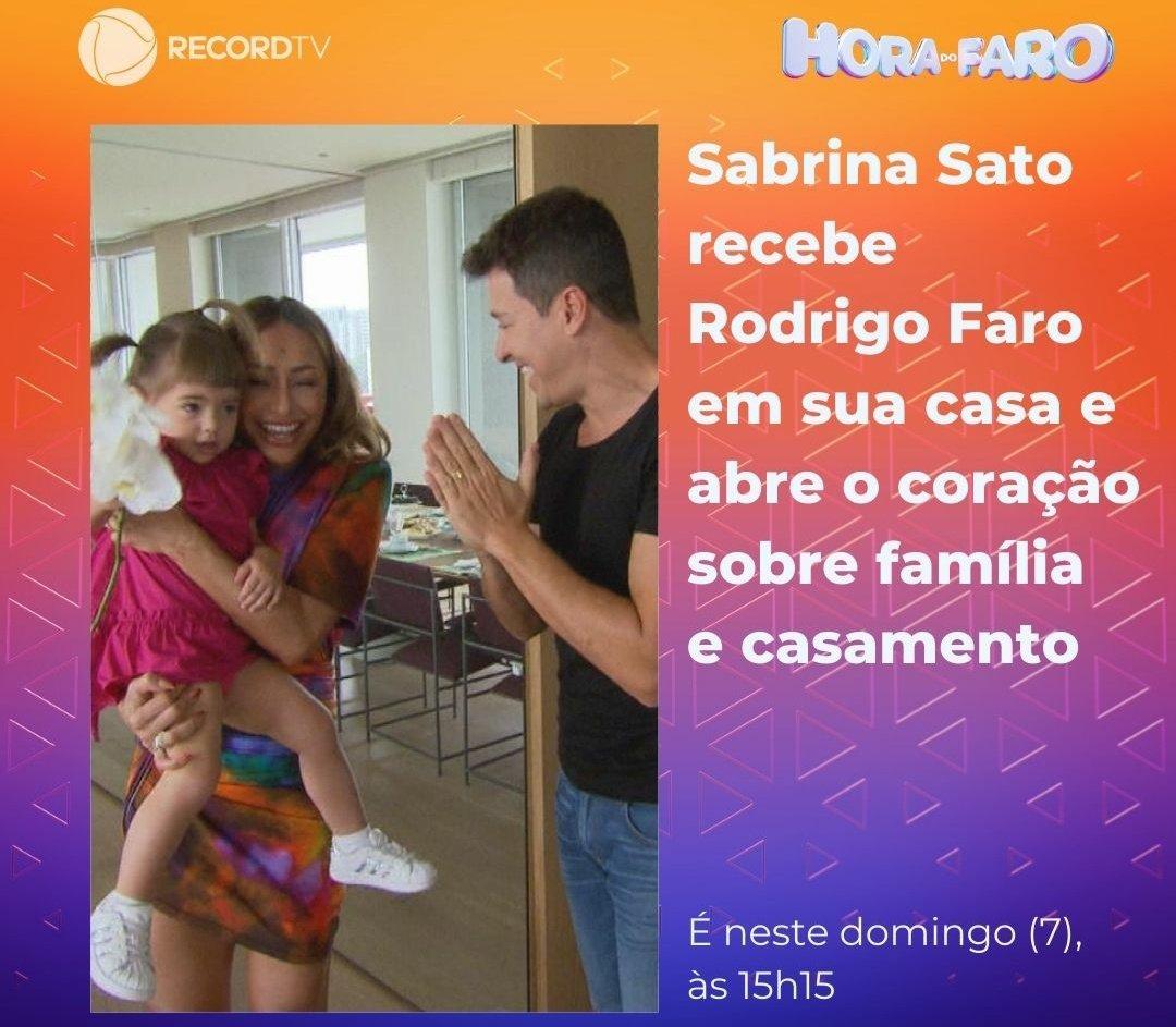 O #HoraDoFaro vai invadir a casa e a intimidade de Sabrina Sato que em conversa com Faro, abriu o coração sobre seu casamento e a rotina com sua filha Zoe 👨👩👧, E mais Comemorando os 35 anos da dupla Bruno & Marrone, o programa preparou uma homenagem especial vem conferir às 15h15!