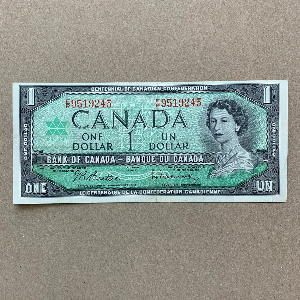 my #etsy shop: 1961-72 Canadian One Dollar Bill Banknote. Queen Elizabeth Currency, Notes, Bills, Canada Bank Note. Lightly Used.  #banknote #currency #bills #pesos #dollars #coins #collectibles #vintage #antiques