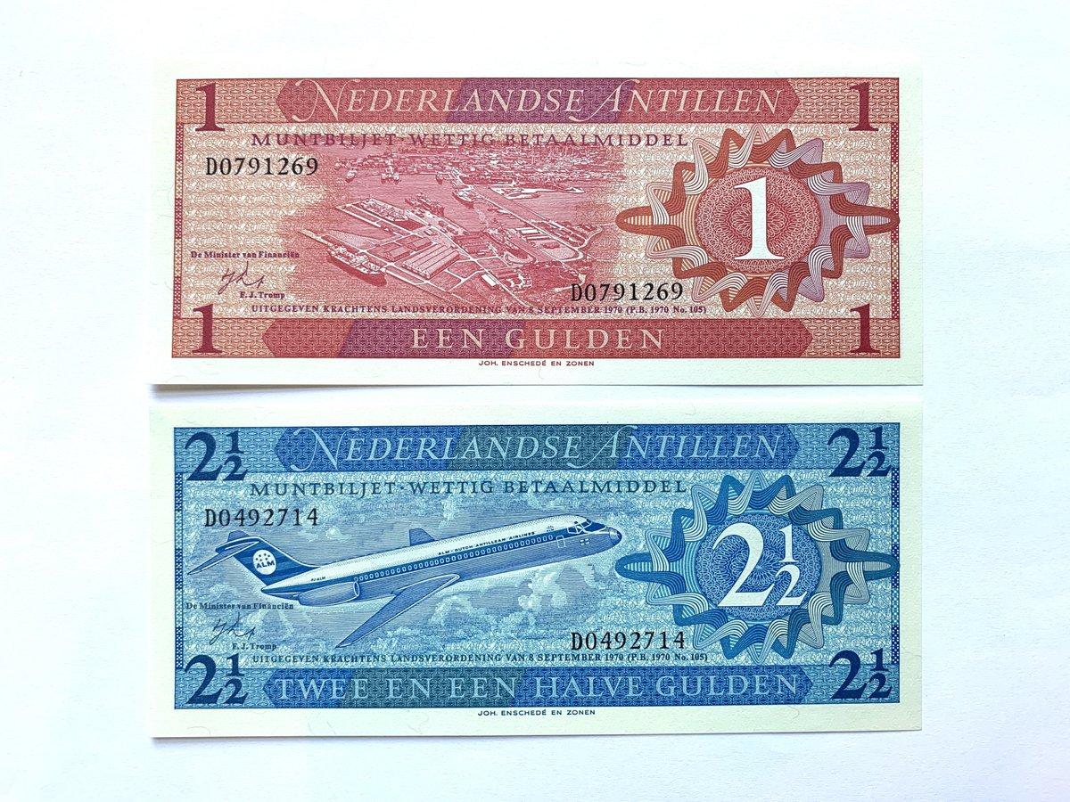 my #etsy shop: 2 pcs 1970 The Netherlands Antilles Gulden Banknote Set. Dutch Currency. Holland Notes. World Banknotes. Jetliner at Front. Foreign Currency  #banknote #billetes #currency #bills #collectibles #vintage #antiques #netherlands #antil