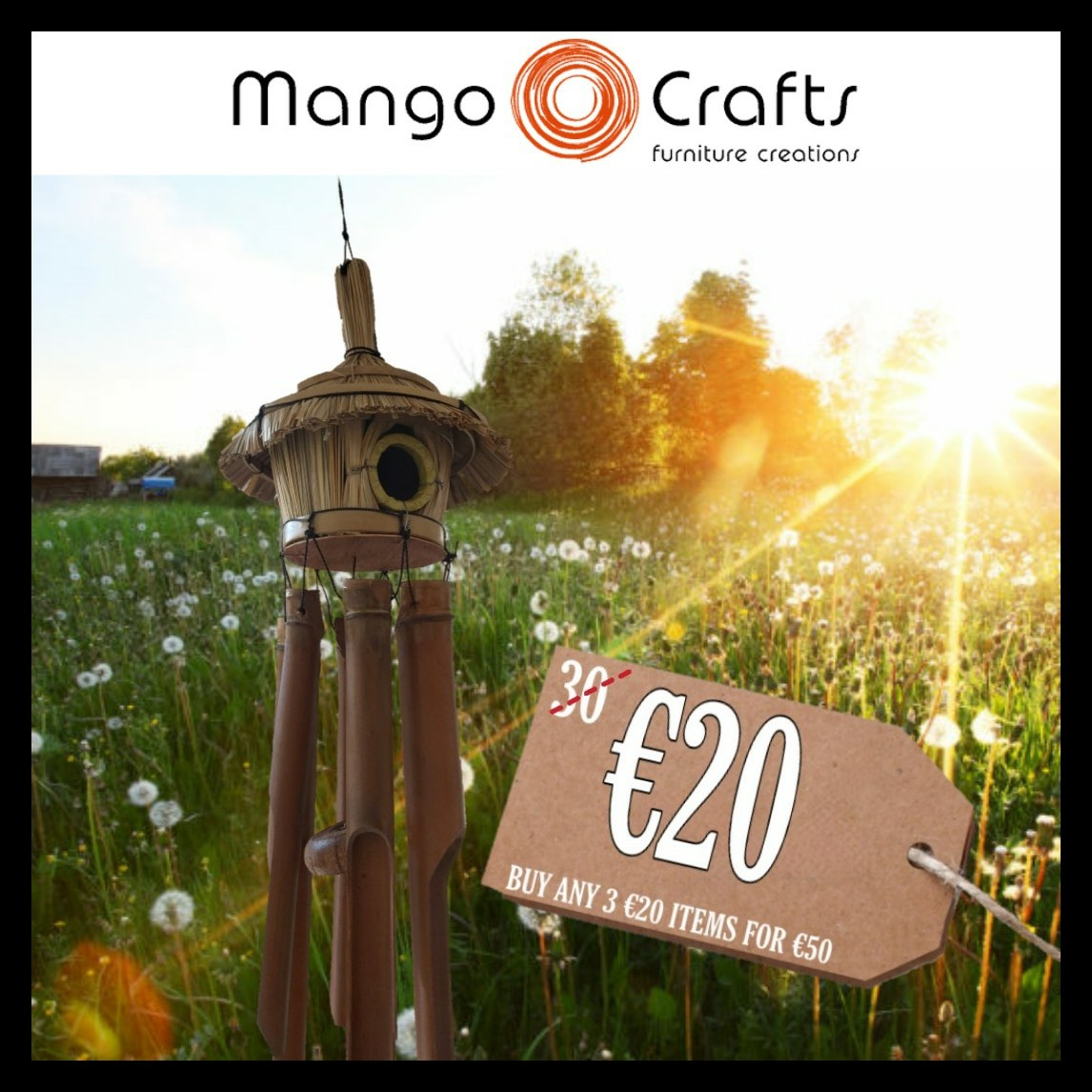 The good weather is coming in againwhat better way to welcome it than a Mango Crafts windchime?    #mangofurniturecreations #mangocrafts #windchime #sundaymornings #sundayfunday #onlineshopping #ireland #irish #birdhouse #coconut #sundayvibes #smallbusiness