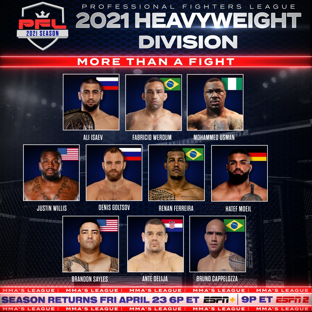 #PFL3 matchups release Tuesday morning. How would you book the heavyweight division?