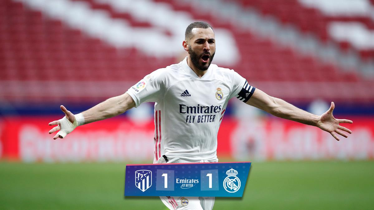 🏁 FT: @atletienglish 1-1 @realmadriden ⚽ Luis Suárez 15'; @Benzema 88' #AtletiRealMadrid | #Emirates