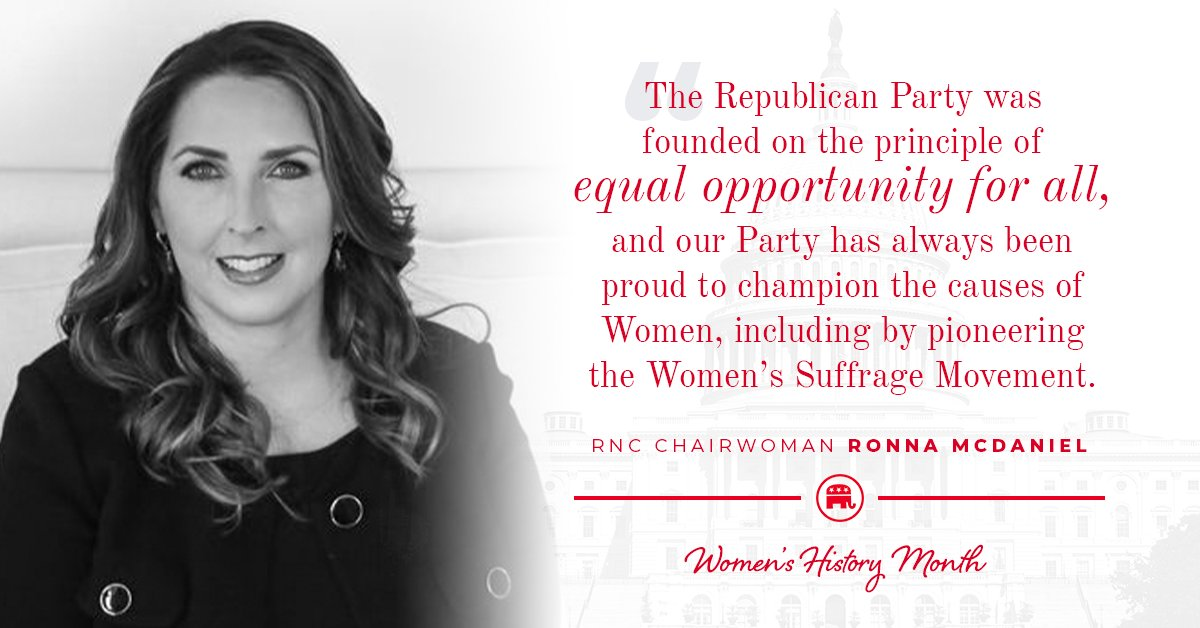 Republican women shape so much of our party's history.  @GOPChairwoman explains how important being a woman and a Republican is this #WomensHistoryMonth⬇️