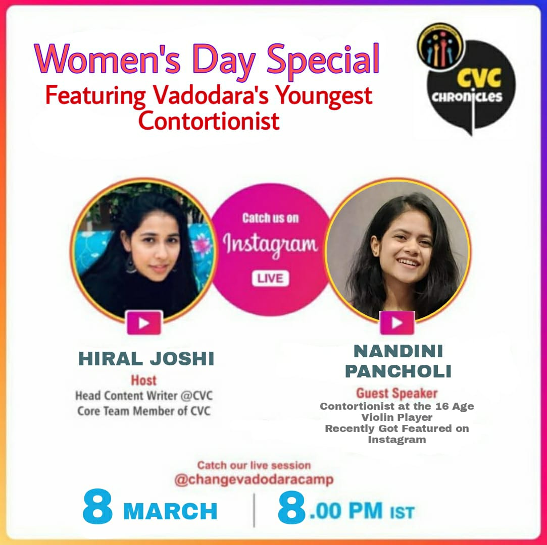 CVC coming up live on Instagram this woman's day at 8 pm. Join us at @changevadodracamp #womanday #womansday2021 #womaninhistory #mondaythoughts #MondayMotivation #NGO #MondayVibes #India