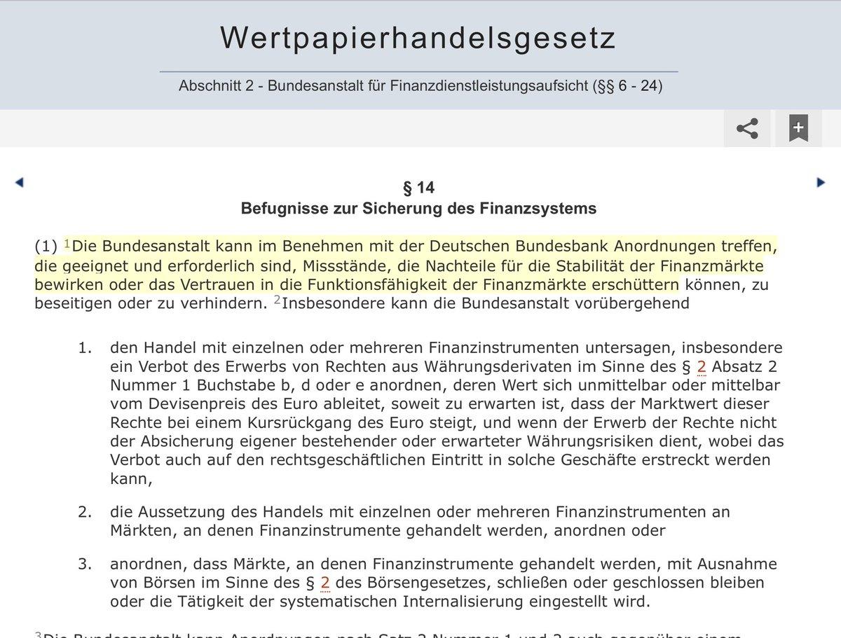 """@FlorianMKern 2/ bei § 14 Abs. 1 S. 2 WpHG - nicht zu beteiligen. Oder siehst Du das anders? Ich sehe immer noch nicht, wie das BMF hier hätte intervenieren können oder sollen. In § 14 I 2 WpHG steht das notwendige Benehmen mit der Bundesbank ausdrücklich im Normtext bei """"Nachteilen für /3"""