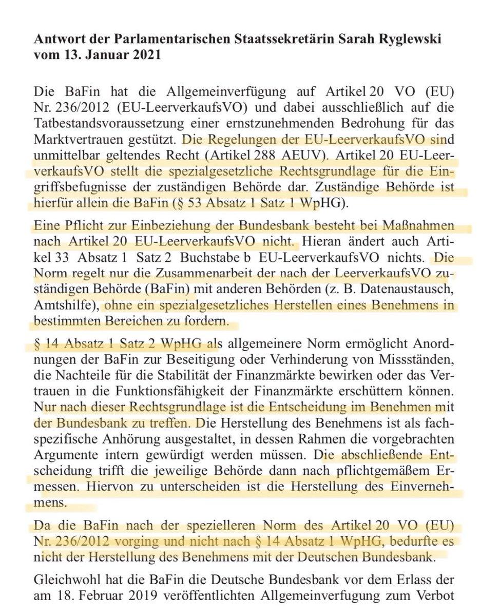 """@FlorianMKern Wenn ich es richtig sehe, dann hat die BaFin ihre Maßnahme auf Artikel 20 der unmittelbar geltenden EU-Verordnung Nr. 232/2012 (EU-LeerverkaufsVO) gestützt, also auf eine """"ernstzunehmende Bedrohung für das Marktvertrauen"""". Da ist die Bundesbank - anders als /2"""