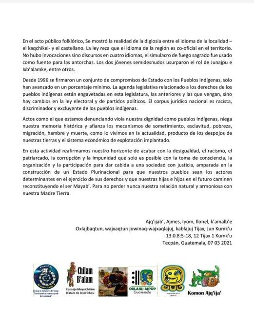 """test Twitter Media - Autoridades mayas por medio de un comunicado rechazaron las actividades del Bicentenario por parte del Gobierno. """"Han removido cicatrices aún no curadas de varios genocidios contra nuestros pueblos"""". https://t.co/DEEzr6XAa4"""