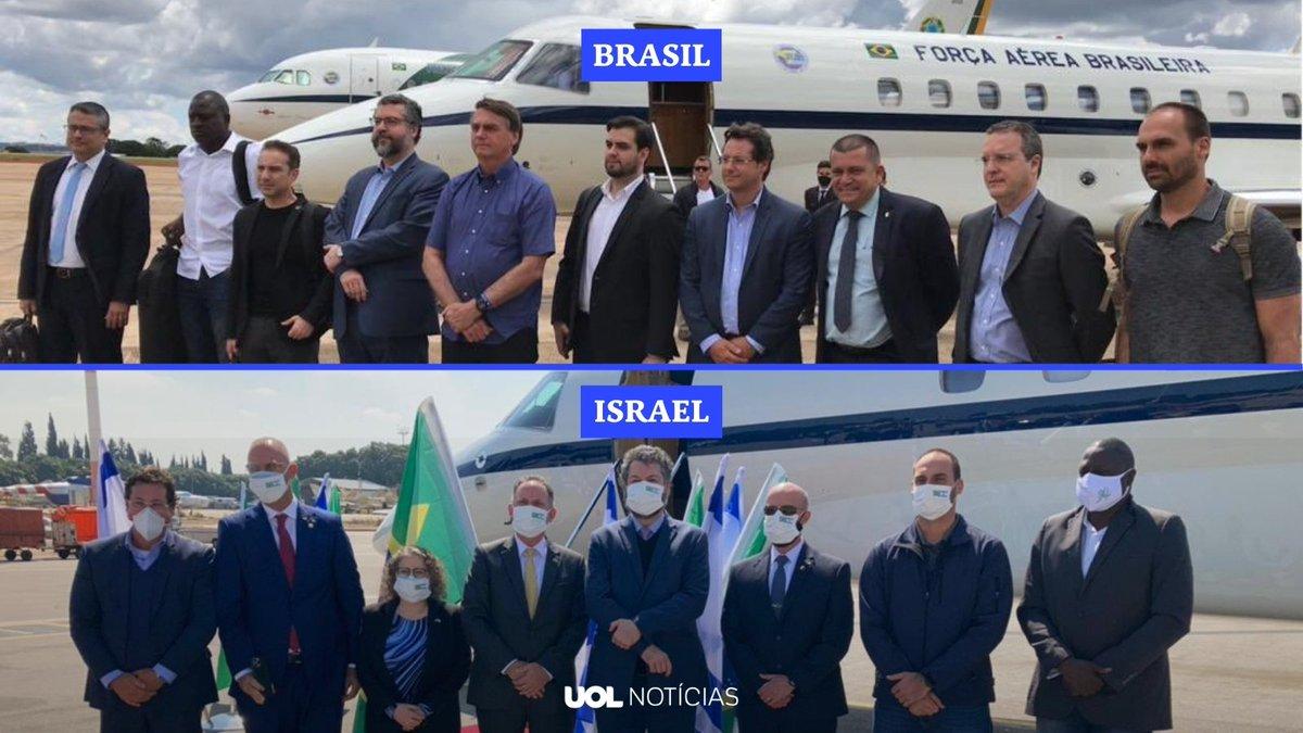 A comitiva do governo federal saindo do Brasil e na chegada à Israel  Já se perguntou por que eles repeitam as regras de combate à pandemia lá fora e aqui não?  Via: @UOLNoticias https://t.co/BYybPPp5P7