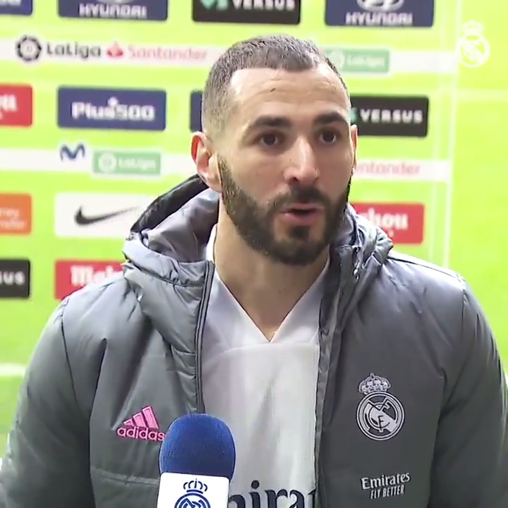 """💬 @Benzema: """"We put in a good performance, it was very difficult against a good team. They had the better of the first half and we had the better of the second. It's a good point for us"""" #HalaMadrid"""