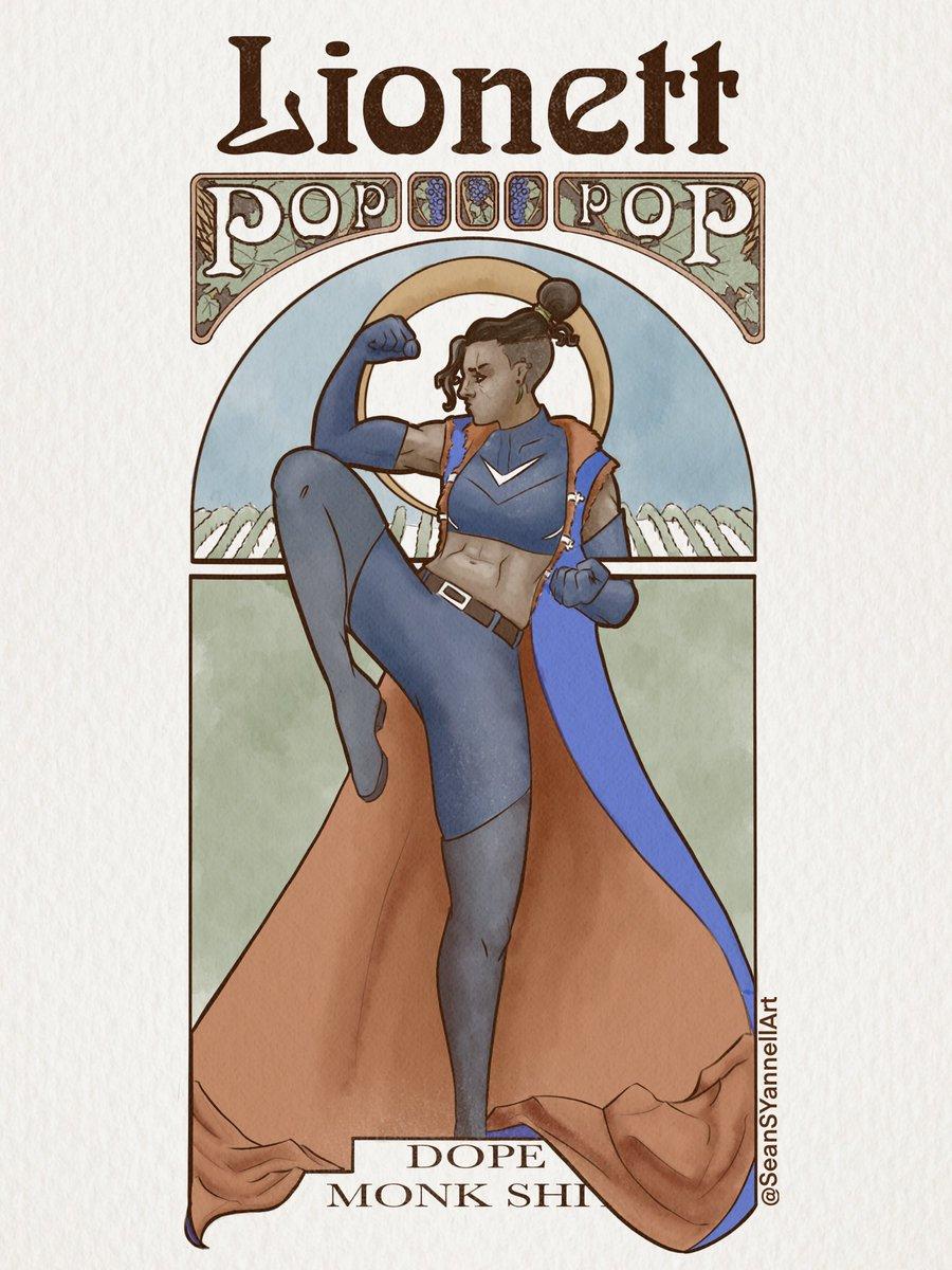 Replying to @SeanSYannellArt: POP POP! It's an Art Nouveau style Beau poster!  #Criticalrole #criticalrolefanart