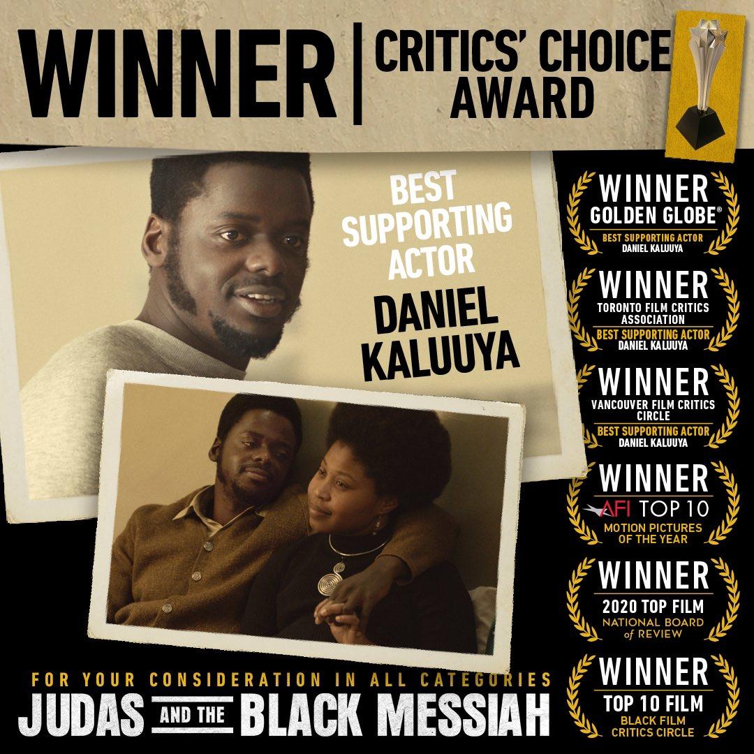 Congratulations to #JudasAndTheBlackMessiah's Daniel Kaluuya on his #CriticsChoice Award win for Best Supporting Actor!