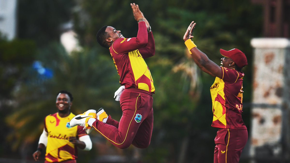 1/13 with the ball ☝️ 21 off 6 with the bat 🏏  @FabianAllen338 gets the West Indies home in the series decider.  #WIvSL |