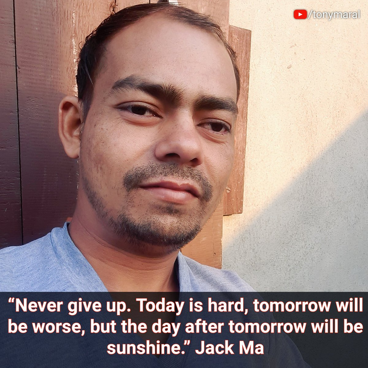 """""""Never give up. Today is hard, tomorrow will be worse, but the day after tomorrowwill be sunshine."""" Jack Ma  """"कभी हार मत मानो। आज कठिन है, कल और भी बदतर होगा, लेकिन कल के बाद का दिन धूप होगा। """" जैक मा  #BetterTogether #FridayThoughts #fridaymorning #entrepreneur"""